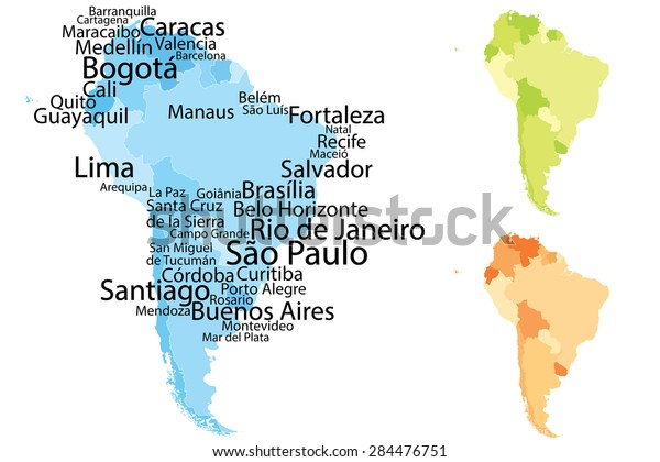Cities Of America Map.South America Map Largest Cities Carefully Stock Vector Royalty