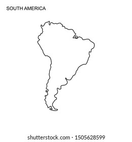 South America map line design, south america icon, south america continent