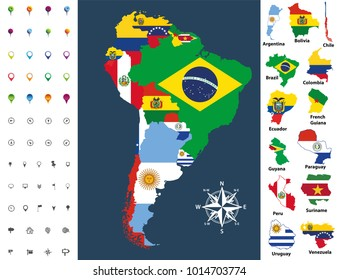 South America map mixed with countries flags, vector illustration