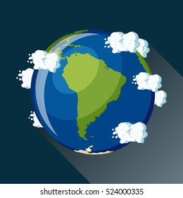 South America map on planet Earth, view from space. South America globe icon. Planet Earth globe map with blue ocean, green continents and clouds around. Cartoon style  flat vector illustration.