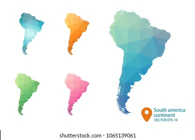South America Map - Set of geometric rumpled triangular low poly style gradient graphic background , polygonal design for your . Vector illustration eps 10.