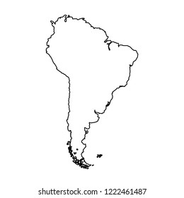South America map - vector icon without  fill
