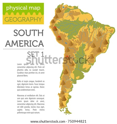 South America Physical Map Elements Build Stock Vector (Royalty Free ...