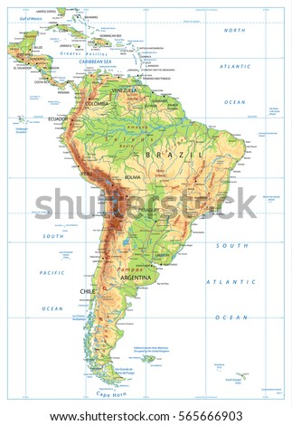 South America Physical Map Isolated On Stock Vector (Royalty Free ...