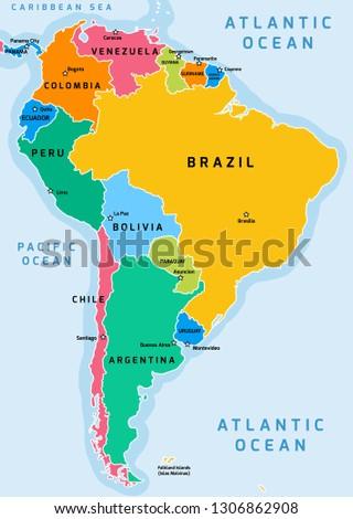 South America Political Division Map Vector Stock-Vrgrafik ... on