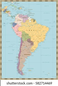 Detailed South America Physical Map Navigation Stock Vector (Royalty ...