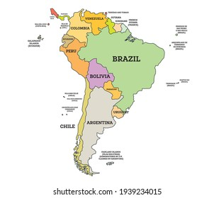 South America Political Map. Vector Illustration. Map with Name of Countries Isolated on White.