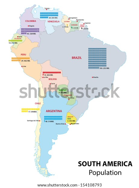 Map Of America By Population.South America Population Map Stock Vector Royalty Free 154108793