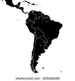 South America silhouette vector map. Black and white version usable for travel marketing, real estate and education.