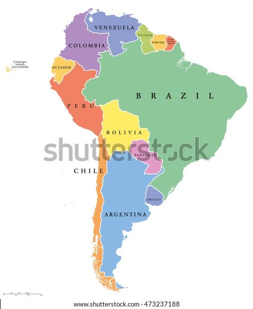 Sydamerika Enkelt Stater Politisk Kort Alle Lagervektor