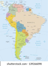 Labeled South American Map Images, Stock Photos & Vectors | Shutterstock