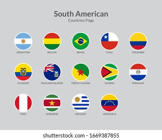 South American countries flag icons collection