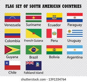 South American countries flags on transparent background