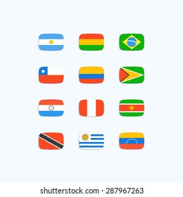 South American Country Flags. Vector icons set