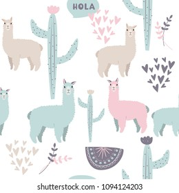 South American ethnic pattern with lama, cactus, abstract compositions and hearts. Cute vector background.