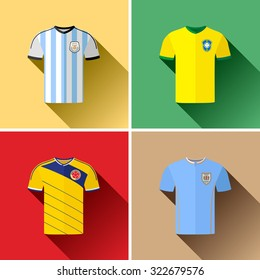 South American Football Team Jerseys Flat Icon Set. Set of vector flat icon graphics representing the football team jerseys for Argentina, Brazil, Colombia and Uruguay.