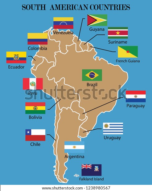 South American Map South American Countries Stock Vector (Royalty ...