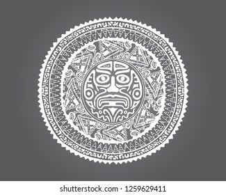 South American Ornamental magic tribal logo. Witchcraft vector illustration. Negative Cultural tattoo design.  ancient inca, mayan, aztec, native american ritual Sun emblem. Ethnic mystical pattern.