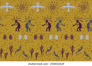 South american Peru flute player vector ethnic tribal motifs seamless pattern. Folk design with gecko, Kokopelli fertility god, sun, bird, cacti. Peruvian signs cute pattern.