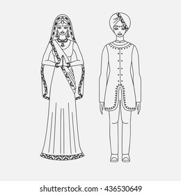 South Asia beautiful woman and man wearing indian traditional cloth, hinduism costume, sari on white background outline vector