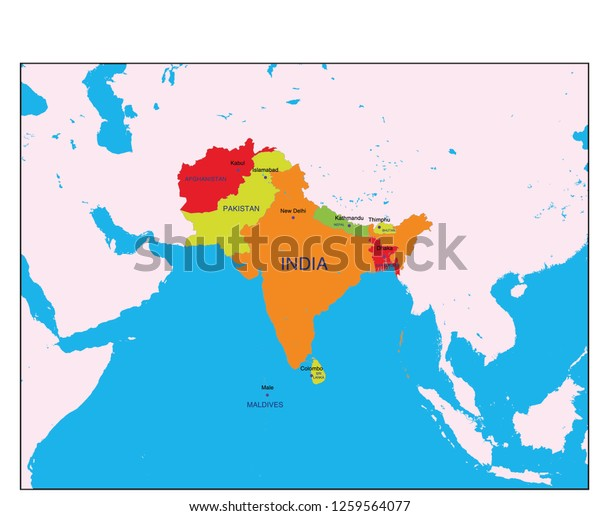 South Asia Map Global Stock Vector Royalty Free 1259564077