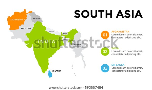 South Asia Map Infographic Slide Presentation Stock ...