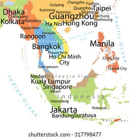 Vector map india pakistan largest cities vector de stock305160251 south asia vector map with largest cities carefully scaled text by city population gumiabroncs