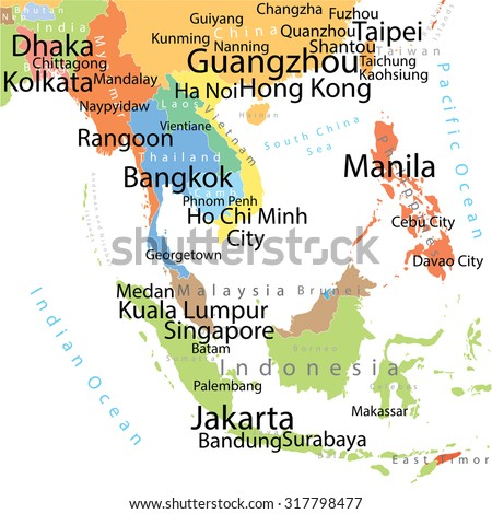 Map Of Asia Cities.South Asia Vector Map Largest Cities Stock Vector Royalty Free