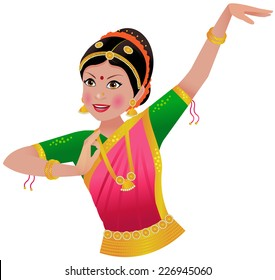 South Asian/ Indian woman in traditional dance Bharatnatyam clothing and pose