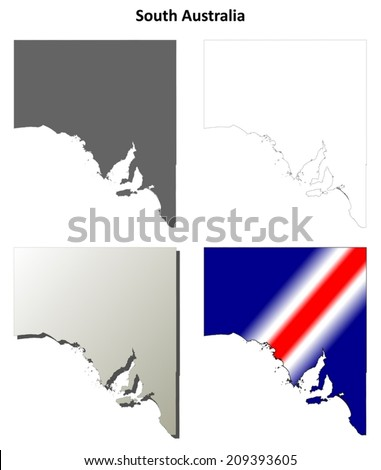 South Australia Blank Detailed Outline Map Stock Vector (Royalty ...
