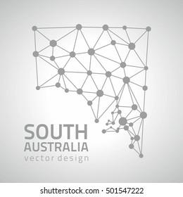 South Australia vector grey polygonal triangle modern  map