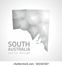 South Australia vector mosaic 3d grey and silver map