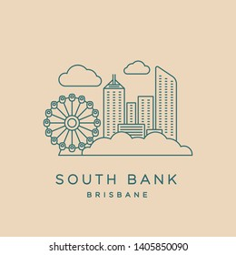 South Bank thin line icon showing South Bank Parklands and Brisbane CBD buildings