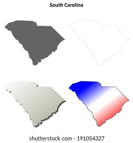 South Carolina blank outline map set - vector version