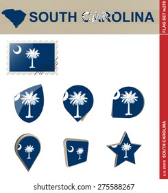 South Carolina Flag Set, US state, Flag Set #278. Vector.