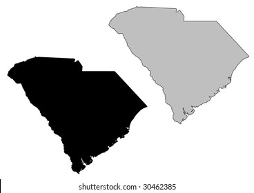 South Carolina map. Black and white. Mercator projection.