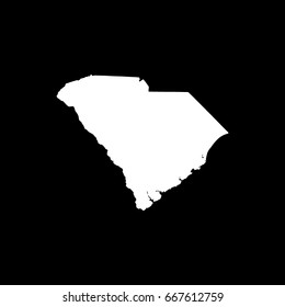South Carolina map in withe on black background