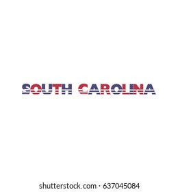 South Carolina Name Colorful Letters Vector Illustration
