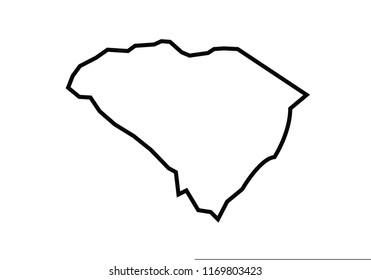 South Carolina outline map state shape