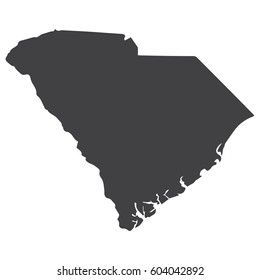 South Carolina state map in black on a white background. Vector illustration