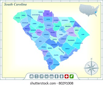 South Carolina State Map with Community Assistance and Activates Icons Original Illustration