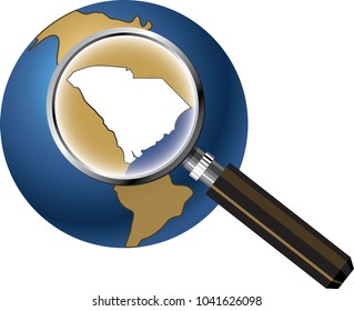 South Carolina State Map Enlarged with Magnifying Glass on Globe