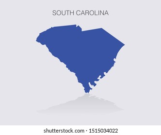 South Carolina State Map Outline for infographics or news media for politics and elections in the United States of America. Democrat blue isolated vector illustration.