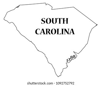 A South Carolina state outline with the date of statehood isolated on a white background