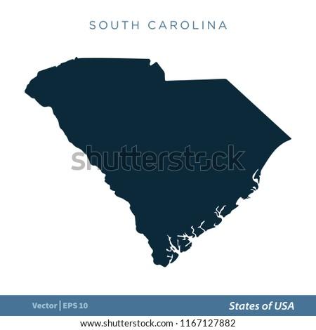 South Carolina States US Map Icon Stock Vector (Royalty Free ...