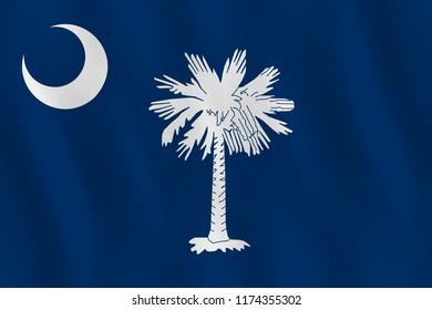 South Carolina US state flag with waving effect, official proportion.