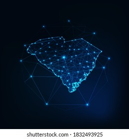 South Carolina USA map glowing silhouette outline made of stars lines dots triangles, low polygonal shapes. Communication, internet technologies concept. Wireframe futuristic vector illustration
