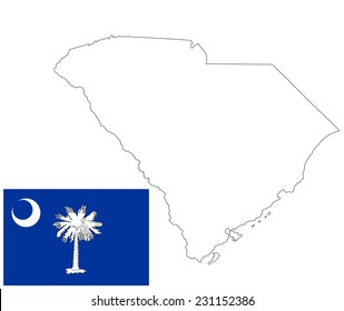 South Carolina vector map contour, and flag isolated on white background. Original and simple South Carolina state flag isolated vector in official colors and proportion correctly.
