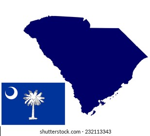 South Carolina vector map and flag isolated on white background. Original and simple South Carolina state flag isolated vector in official colors and proportion correctly.