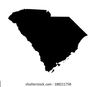 South Carolina vector map silhouette isolated on white background. United state of America country.